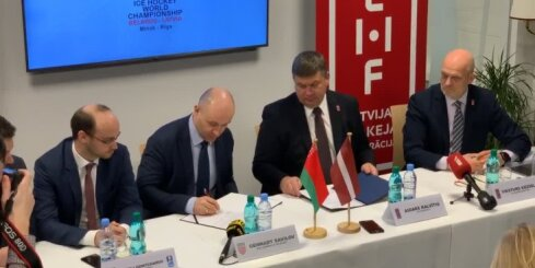 Latvija un Baltkrievija paraksta līgumu par hokeja čempionāta organizēšanu