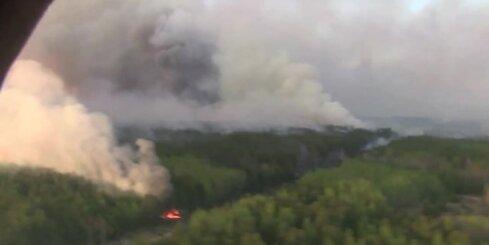 Černobiļas AES tuvumā plosās mežu ugunsgrēks