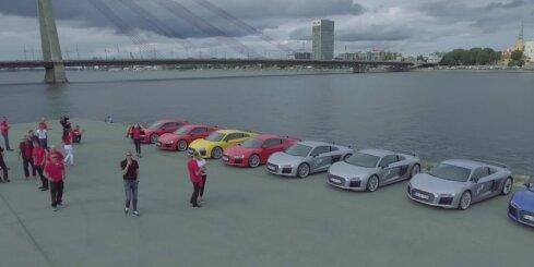 'Audi R8' superauto parāde Rīgā
