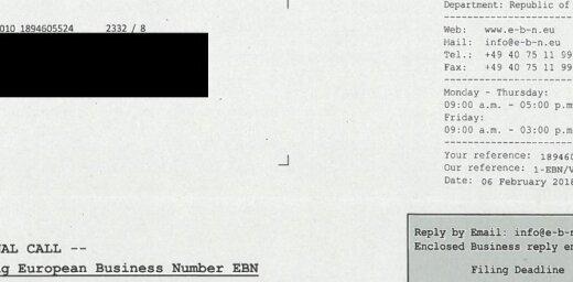 VID brīdina par 'EBN-European Business Number Latvija' viltus vēstulēm