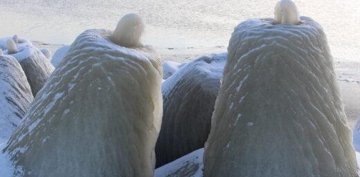 Foto: Sniegs un sals izveido 'ledus kūkas' Daugavgrīvas molā