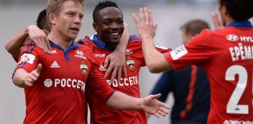 CSKA s players Aleksandrs Cauna, Ahmed Musa and Roman Yeryomenko