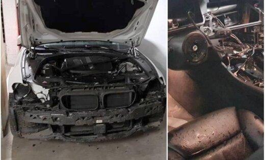 Foto: Pazemes stāvvietā Teikā zagļi pamatīgi apskrūvējuši BMW