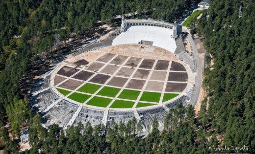 ФОТО: Как выглядит новая Большая эстрада в Межапарке с высоты птичьего полета