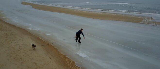 Drona video: Suņuks Mesiņš izved pastaigā saimnieku, kurš slido pa aizsalušu jūru