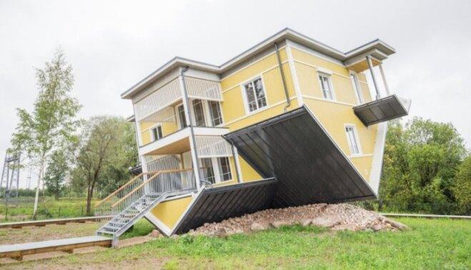 """ФОТО: В Тарту появился построенный """"вверх ногами"""" дом"""