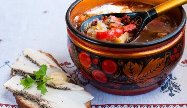 Борщ сибирский с фрикадельками