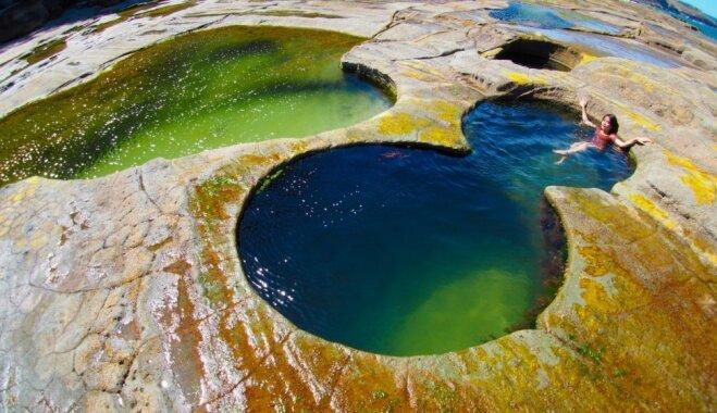 Gluži kā uz citas planētas: neparasts dabiskais baseins Austrālijā, kas atgādina astotnieku