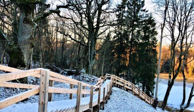 Foto: Labiekārtotais Volzbaha kalns, kur izveidota skaista pastaigu taka