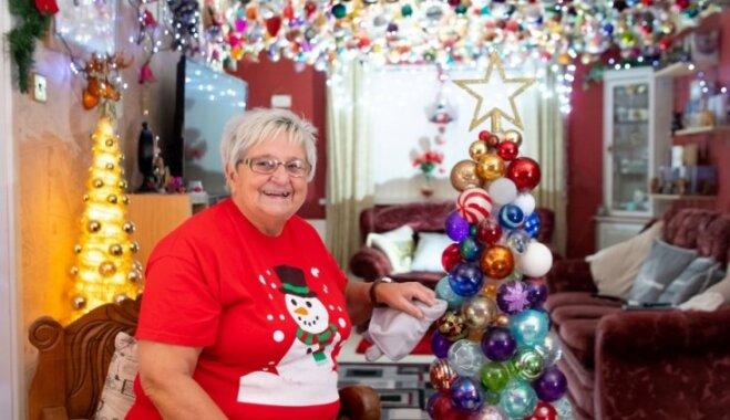 Vecmāmiņa no Velsas iztērē 16 tūkstošus eiro, lai izgreznotu mājokli ar 2000 rotājumiem