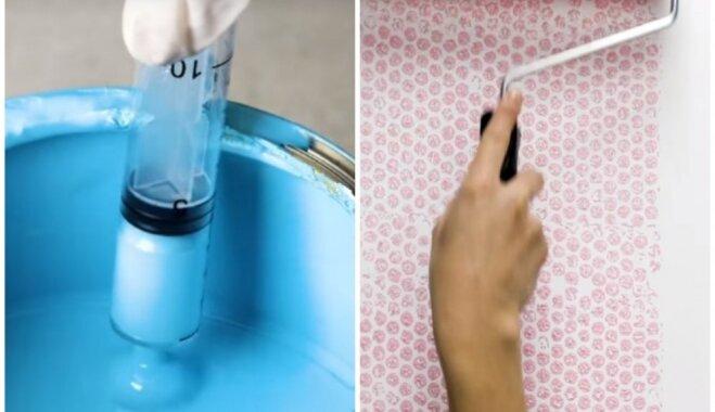 Ar burbuļplēvi un šļircēm: pieci neparasti paņēmieni oriģinālam sienu krāsojumam