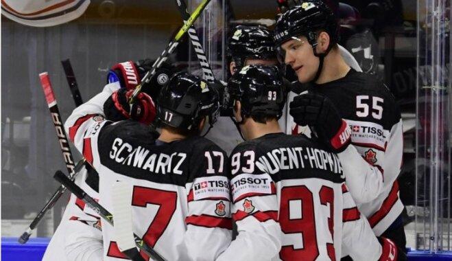 Kanādas izlase rezultatīvā cīņā pagarinājumā uzvar Krieviju un iekļūst pusfinālā