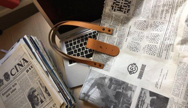 ФОТО: латвийские дизайнеры создали сумочки из старых газет