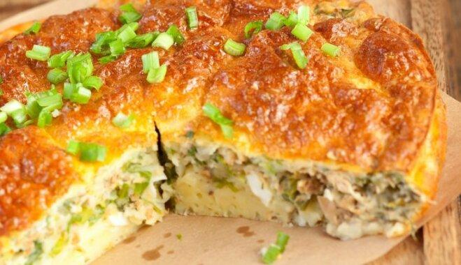 Пирог со сливочным сыром, тунцом и стручковой фасолью