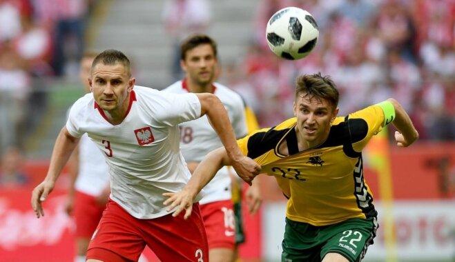 Lietuvas futbolisti pārbaudes mačā kapitulē Pasaules kausa dalībniecei Polijai
