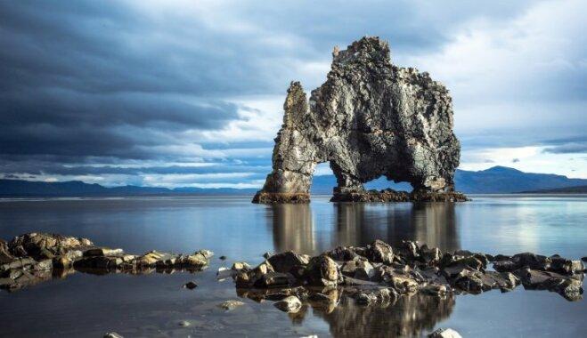 Savdabīga klints Islandē, kas līdzinās zilonim