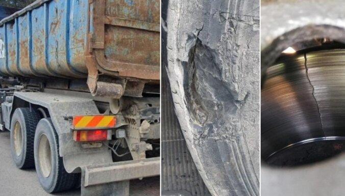 Foto: CSDD reidos aprīlī 21 kravas auto konstatēti tehniskie defekti