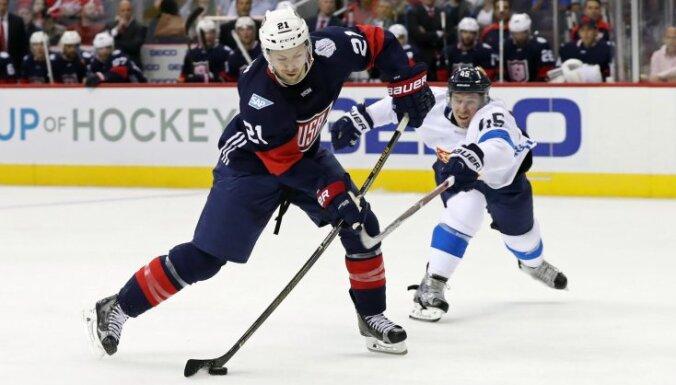 USA Derek Stepan scores goal Finland Sami Vatanen