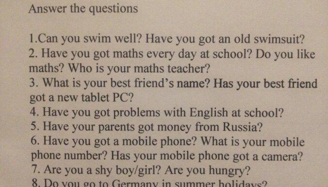 Vai tavi vecāki saņem naudu no Krievijas? Mamma sašutusi par jautājumiem angļu valodas mājasdarbā