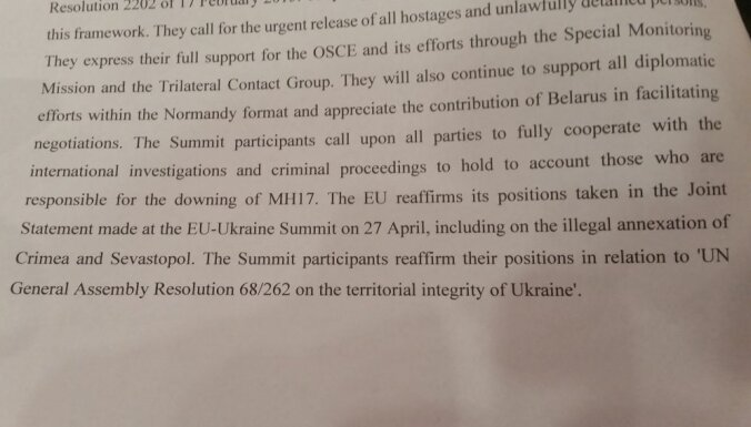 Apstiprina Austrumu partnerības Rīgas deklarāciju; pauž atbalstu konflikta deeskalācijai Ukrainā