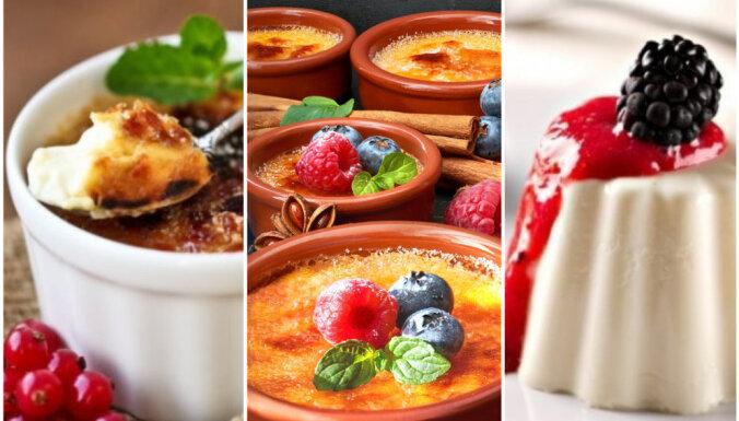 'Panna cotta', 'creme brulée' vai 'crema catalana'? Trīs leģendāri deserti garšīgai salīdzināšanai