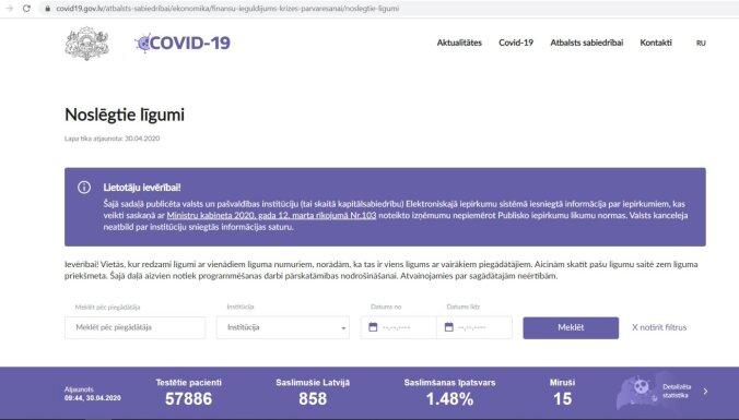 Informāciju par Covid-19 pandēmijas laikā noslēgtajiem līgumiem publicēs internetā