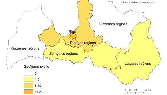 Опубликована карта распространения коронавируса в Латвии