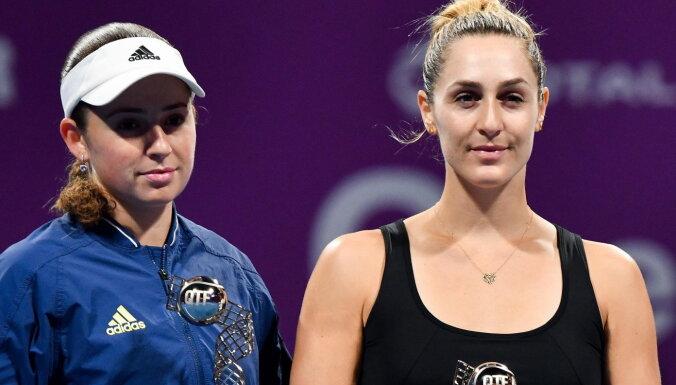 Ostapenko ar Dabrovski pārvar Strasbūras turnīra dubultspēļu sacensību pirmo kārtu