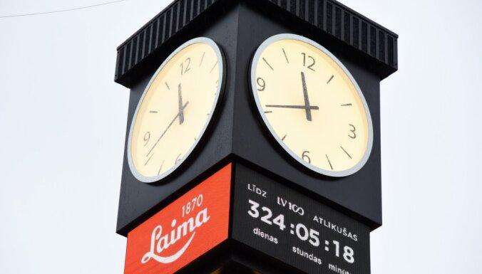 Foto: Atklāj par 106 000 eiro rekonstruēto 'Laimas' pulksteni