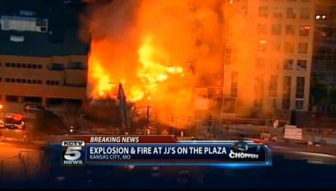 Gāzes sprādzienā un ugunsgrēkā Kanzassitijas iepirkšanās rajonā vismaz 14 ievainotie