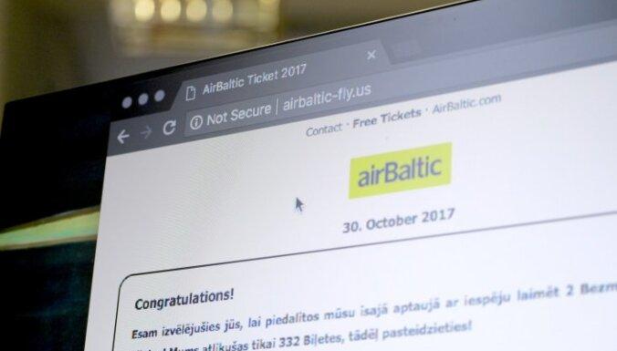 'airBaltic' brīdina par viltus konkursu sociālajos tīklos aviokompānijas vārdā