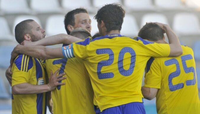'Ventspils' un 'Spartaks' futbola virslīgas mačos izcīna pārliecinošas uzvaras; RFS izcīna astoto uzvaru