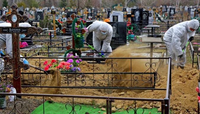 Krievijā ir otrs lielākais Covid-19 upuru skaits pasaulē, ziņo medijs