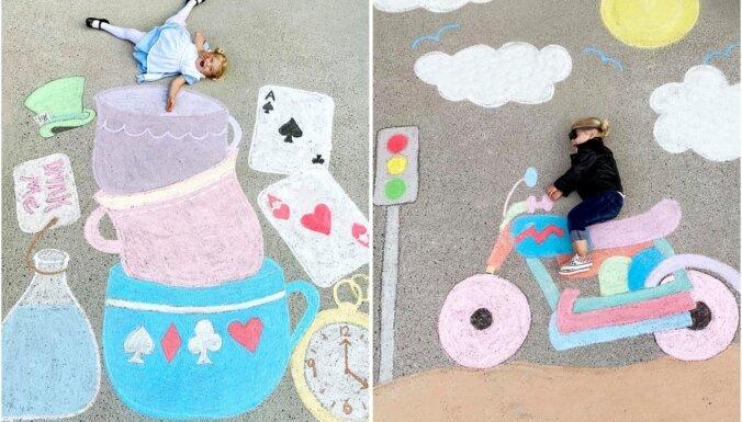 Foto: Radošas mammas zīmējumi uz asfalta ar meitu galvenajā lomā