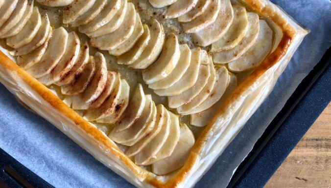 Garšīgā ābolu plātsmaize no krējuma mīklas