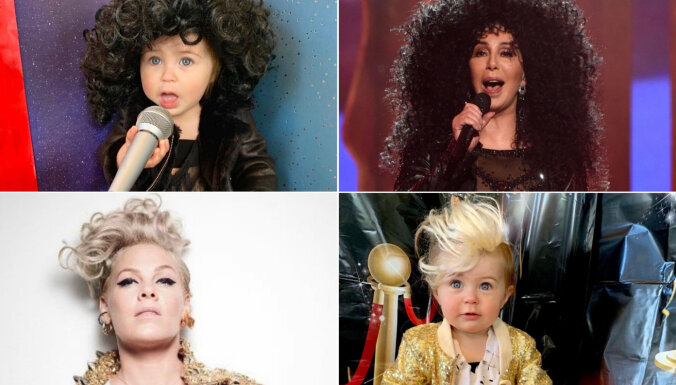 Foto: No Madonnas līdz princesei Diānai. Gadu veca mazulīte slavenu sieviešu tēlos