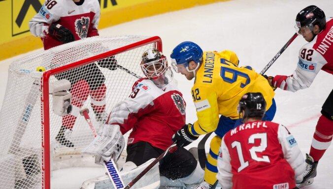 Deviņi zviedri gūst vārtus spēlē pret Austriju