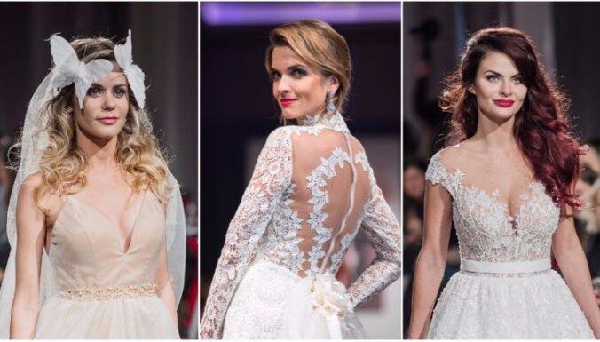 Krāšņi foto: Populāras latvietes defilē līgavu kleitās