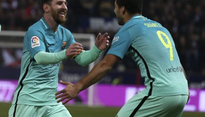Barcelona Lionel Messi with Luis Suarez