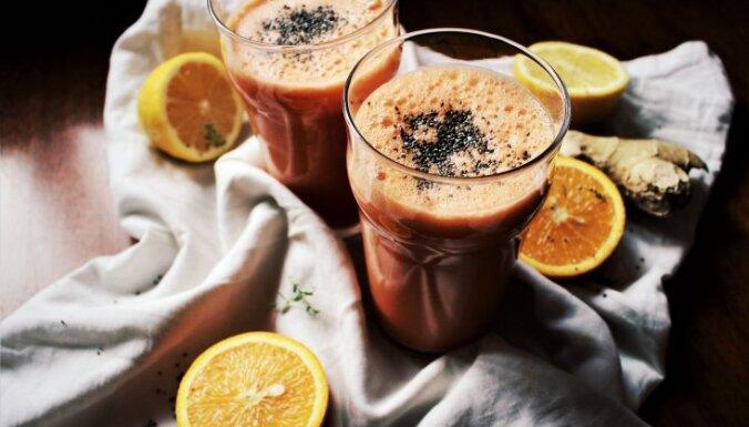 Īpaši veselīgs citrusu–burkānu kokteilis ar ingveru