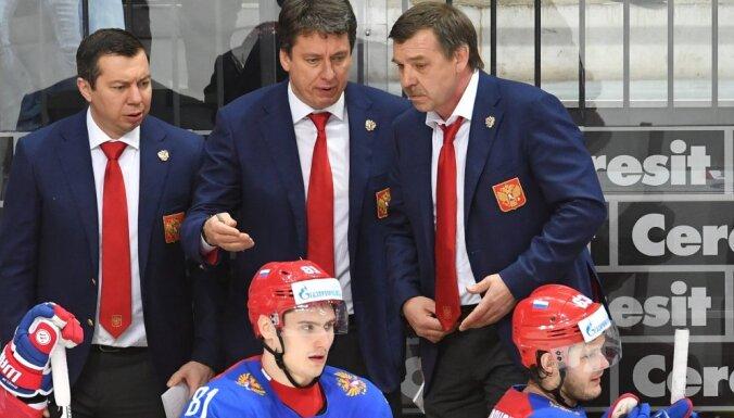 Russian team s coaches Ilya Vorobyov and Harijs Vitolins and head coach Oleg Znarok