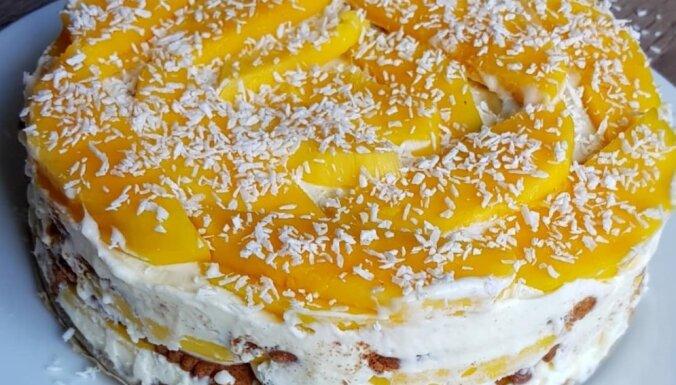 Neceptā mango torte no četrām sastāvdaļām
