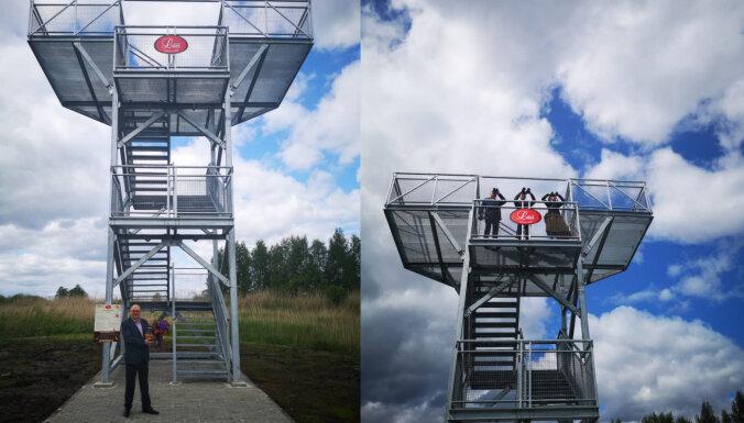 Maizes ceptuves 'Lāči' teritorijā ierīkots putnu vērošanas tornis