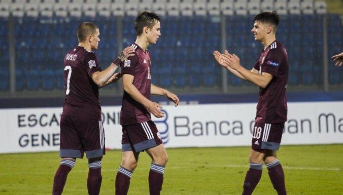 Latvijas futbola izlase Sanmarīno svin pirmo panākumu šogad