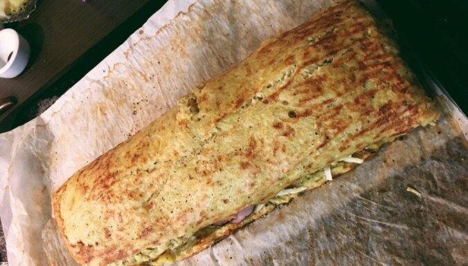 Пошаговый рецепт: картофельный рулет с сыром и ветчиной