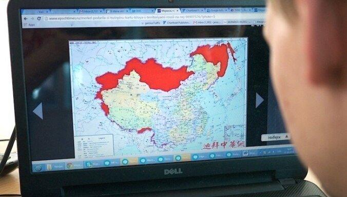 Merkele Ķīnas prezidentam uzdāvina vēsturisku karti ar Krievijas teritorijām