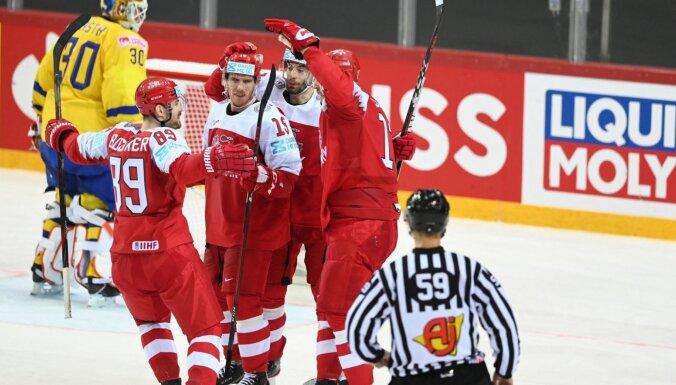 Hokeja sensācijas Rīgā turpinās – Dānija šokē Zviedriju