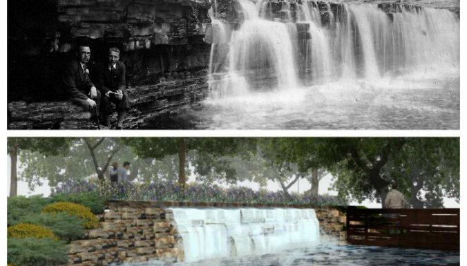 Koknesē būvē HES izpostītā Pērses ūdenskrituma kopiju