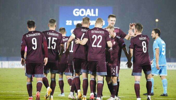Foto: Latvijas futbolisti izcīna ilgi gaidīto panākumu