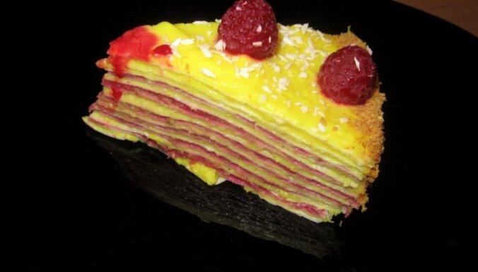 Торт из лаваша с апельсиновым и малиновым кремом без выпечки для тех, кто считает калории